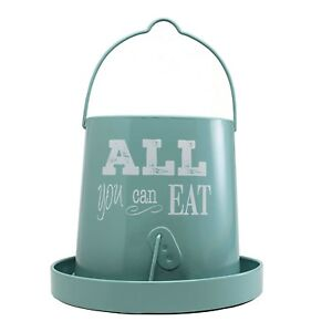 Galvanized Poultry Feeder Ranch Vintage Teal For Chicken Holds 15 Pounds Of Feed