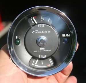 Ford Cortina Smiths Gauge Fuel Gas Water Temperature Cluster Vintage Ip 2202