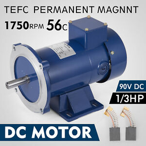 Dc Motor 1 3hp 56c Frame 90v 1750rpm Tefc Magnet Durable Permanent Continuous
