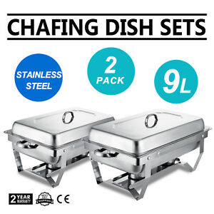 2 Set Chafing Dish Stainless Steel 9 Quart Food Warmer Food Lid Catering Pan