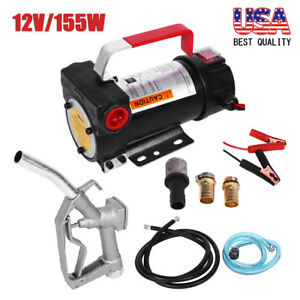 12v Auto Portable Electric Diesel Oil Fuel Transfer Extractor Pump W nozzle Hose