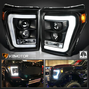 For Black 2011 2016 Ford F250 F350 F450 Superduty Led Drl Projector Headlights