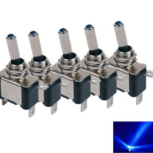 5 X Blue Led Toggle Switch Car Boat Truck Auto Dc Neon 12v 20a On Off Spst Us