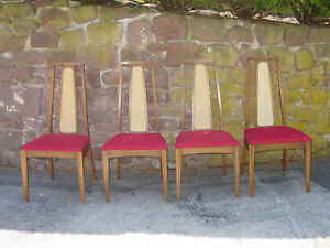 Mid Century Set Of 4 Broyhill Emphasis Dining Chairs W Caned Backs