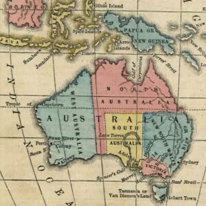 Australia Australasia Malaysia Lake Torrens Hook 1855 Antique Map Old Hand Color