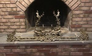 Vintage Antique French Louis Xv Rococo Style Ornate Fireplace Andirons