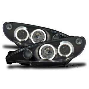 Led Angel Eyes Headlights In Black Finish For Peugeot 206 Cc 206cc 1998 2002