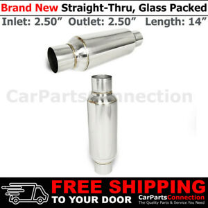 2 5 In Out Pair Stainless Steel 10 Inch Glass Pack Muffler Resonator Universal