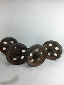 4 Vintage Industrial Cart Wheel Cast Iron With Rubber Tire Steam Punk Project