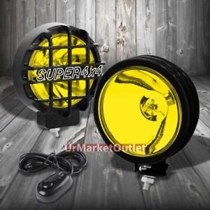 6 Round Black Body Housing Yellow Fog Light super 4x4 Offroad Guard Work Lamp