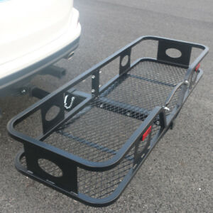 Hitch Mounted Folding Cargo Carrier Receiver Luggage Basket Black
