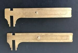 The Central Tools Co Germany Solid Brass Slide Rule Caliper 0 4 0 100mm Vgc
