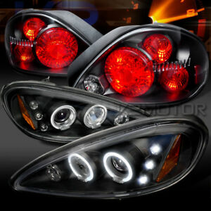 99 05 Pontiac Grand Am Black Led Halo Projector Headlights rear Tail Lamps