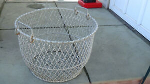 Large Antique Wire Clam Oyster Egg Garden Basket Nautical Fishing Long Island