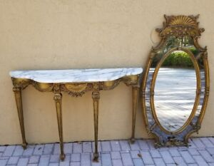 Stunning Mid Century Italian Mirror And Marble Top Foyer Table