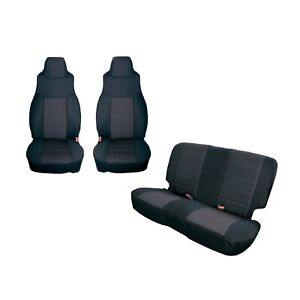Rugged Ridge 13293 01 Black Front Rear Seat Covers For 03 06 Jeep Wrangler Tj