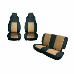 Rugged Ridge 13293 04 Black Tan Front Rear Seat Covers For Jeep Wrangler Tj
