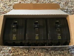 3 Brand New Square D Qo320 3 Pole Breakers 20 Amp 240v New In Original Box