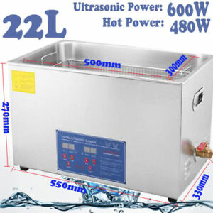 22l Industry Digital Ultrasonic Cleaner Heater Timer Stainless Jewel Clean Tank