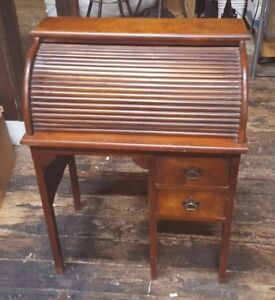 Antique Childrens Childs Size Wood Roll Top Desk