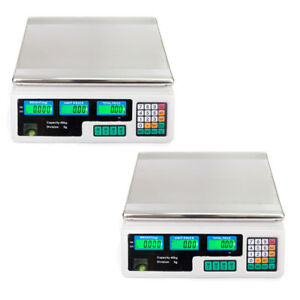 2pcs Count Scales Digital Weight Scale 88lb 40kg Computing Food Meat Scale