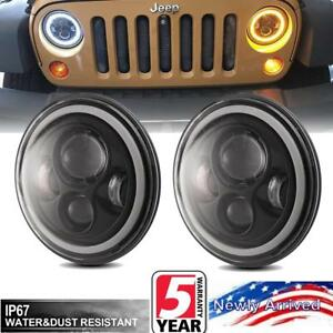 For Jeep Wrangler Jk Lj Tj Round Led Headlights Halo Angle Eyes Drl Turn Lights