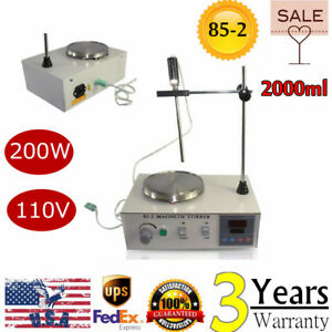 110v 200w Magnetic Stirrer Mixer Machine With Heating Plate 2000ml Lab Grade Us