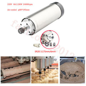Er20 Cnc Air Cooled Spindle Motor 2 2kw Four Bearing 3 175 6mm Collet Router Cnc