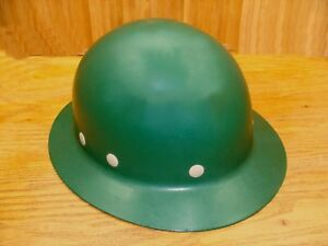 Vintage Fiberglass Hard Hat Green Full Brim Superglas Fibre Metal construction
