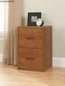 Brown Faux Wood Filing Cabinet 2 Drawers Letter Storage Home Office Furniture