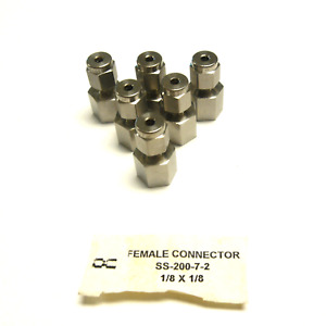 New Lot Of 6 Swagelok Ss 200 7 2 Female Connector 1 8