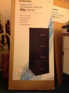 New Officemax Expresso Finish Wooden Four 4 Drawer Vertical File Filing Cabinet
