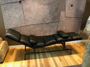 Charles Ray Eames Billy Wilder 1968 Black Leather Chaise Mid Century Modern