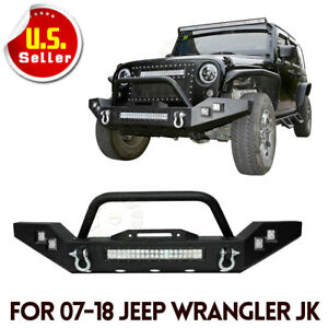 Climber Front Bumper W Led Light Bar For 2007 2018 Jeep Wrangler Jk
