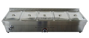 5 pan natural gas bain marie buffet food warmer steam table 56inch Hot