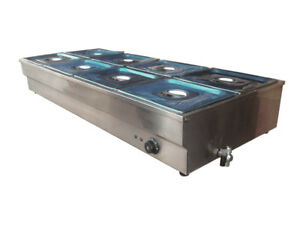 8 pan Bain marie Buffet Steam Table Food Warmer 110v 2000w 1 2 Pan