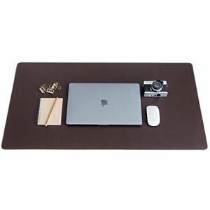 Zbrands Brown Leather Smooth Desk Mat Pad Blotter Protector Extended