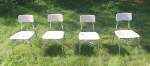 4 Vintage Heywood Wakefield Hey Woodite Adult Size White Chairs Very Good