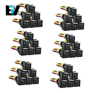 6set 6pcs Dc 12v Car Spdt Automotive Relay 5 Pin 5 Wires W harness Socket 30 40a