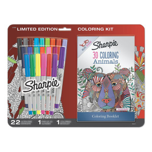 24ct Sharpie Permanent Markers Ultra Fine Point W 3d Animals Coloring Booklet