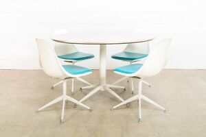 Mid Century Dining Set Burke Saarinen Style Tulip Blue White Dining Table Chairs