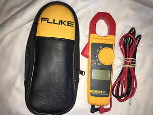 Fluke 323 True rms Clamp Meter 400a Ac 600v Ac dc With Case Fluke Leads Mint