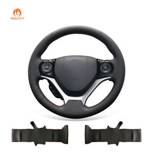 Black Artificial Leather Steering Wheel Cover Wrap For Honda Civic 9 2012 2015