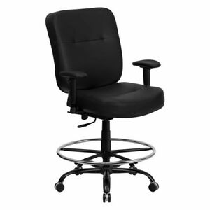 Big And Tall Black Leather Drafting Chair Stool With Arms 400 Lb Capacity Black