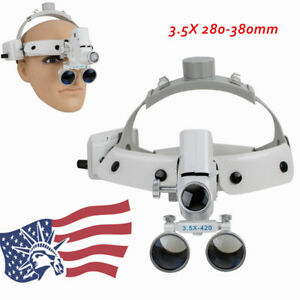 Ups Dental Binocular Loupes Surgical Glass Magnifier led Headlight 3 5x280 380mm