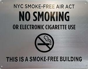 Lot Of 5 nyc Smoke Free Act Sign no Smoking Or Electric Cigarette Use This I