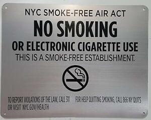 Lot Of 5 Nyc Smoke Free Act Sign no Smoking Or Electric Cigarette Use for Es
