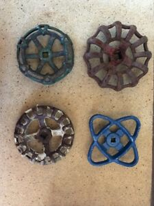 Lot Of 4 Large Water Faucet Valve Handles Vintage Industrial Steampunk B5