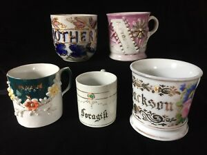 Lot Of 5 Antique Sentiment Cups Mother For A Gift From A Friend A Present
