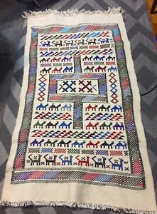 Mid Century Modern Swedish Handwoven Tapestry Wall Hanging Runner